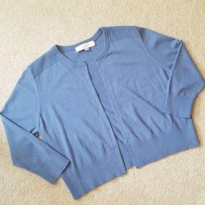 Loft open front cropped cardigan. Medium lite blue